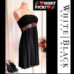 WHBM Strapless Black cocktail Dress Size 8